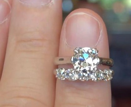 August Vintage Cushion diamond engagement and wedding band. From goodoldgold.com. I do not own the rights to this photo. I took it from this video http://www.youtube.com/watch?v=VZ6-SUphWY4=player_embedded
