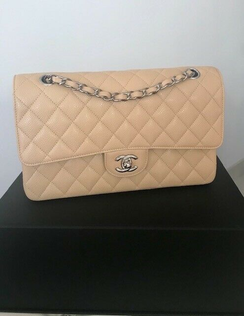 5ac368174cc5 Details about Authentic CHANEL Black Quilted Lambskin Medium Double ...