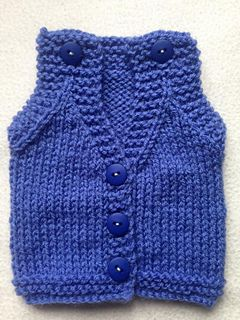 I have tried over the last year or so to make a buttoned shoulder body warmer / vest following a pattern, but have not always been happy with the results. I have recently spoke to a nurse who works with small babies she said unfortunately lots of body warmers that are received in the hospital she works at have to be disposed of as the armhole space is just too small. I didn't want us to make these for them to be disposed of therefore with her help of size I have designed this pattern.