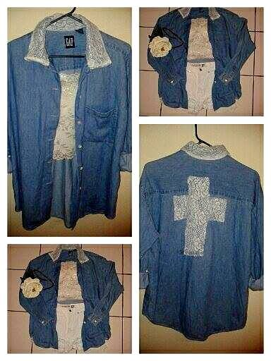 blusa mezclilla vintage cruz de encaje !!