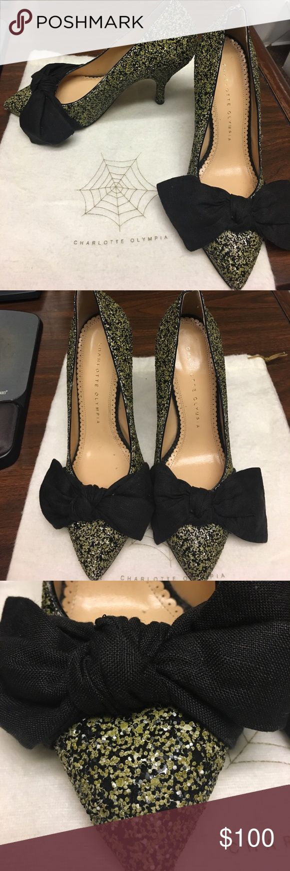 like new! perfect for holiday party! Gorgeous barely worn Charlotte Olympia heels with bow detail and green and black sequins. Comes with dust bag and box! EUR size 36 US 6. Genuine leather, made in Italy  Charlotte Olympia Shoes Heels