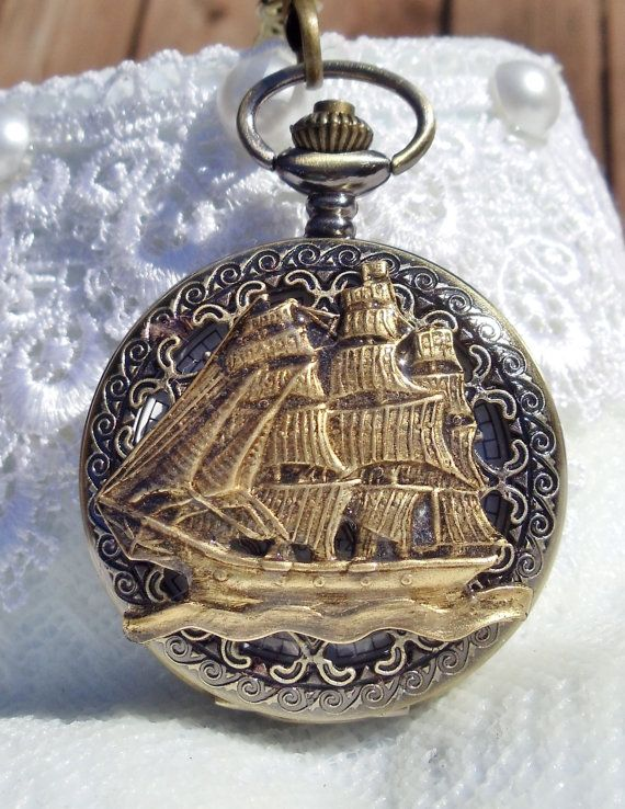 Nautical pocket watch men's pocket watch by Charsfavoritethings, $50.00
