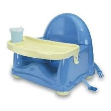 Feeding Booster Seat: We got this one, its perfect for taking with us when we go to someone's house. Its plastic and light weight. Our's is made by Safety 1st.