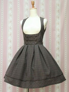 Victorian Maiden British Check JSK in Gray Twilight.