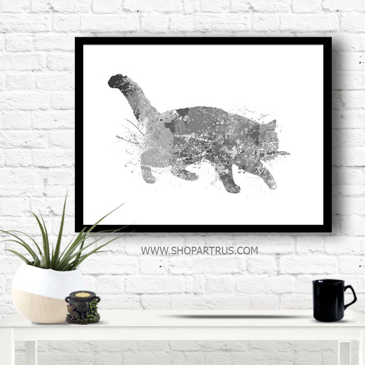 Cat Wall Print, Watercolor Cat Print, Cat Poster, Grey Cat Print, Cat print, Cat Art, wall art, animal poster gift, home decor WT43 by artRuss on Etsy