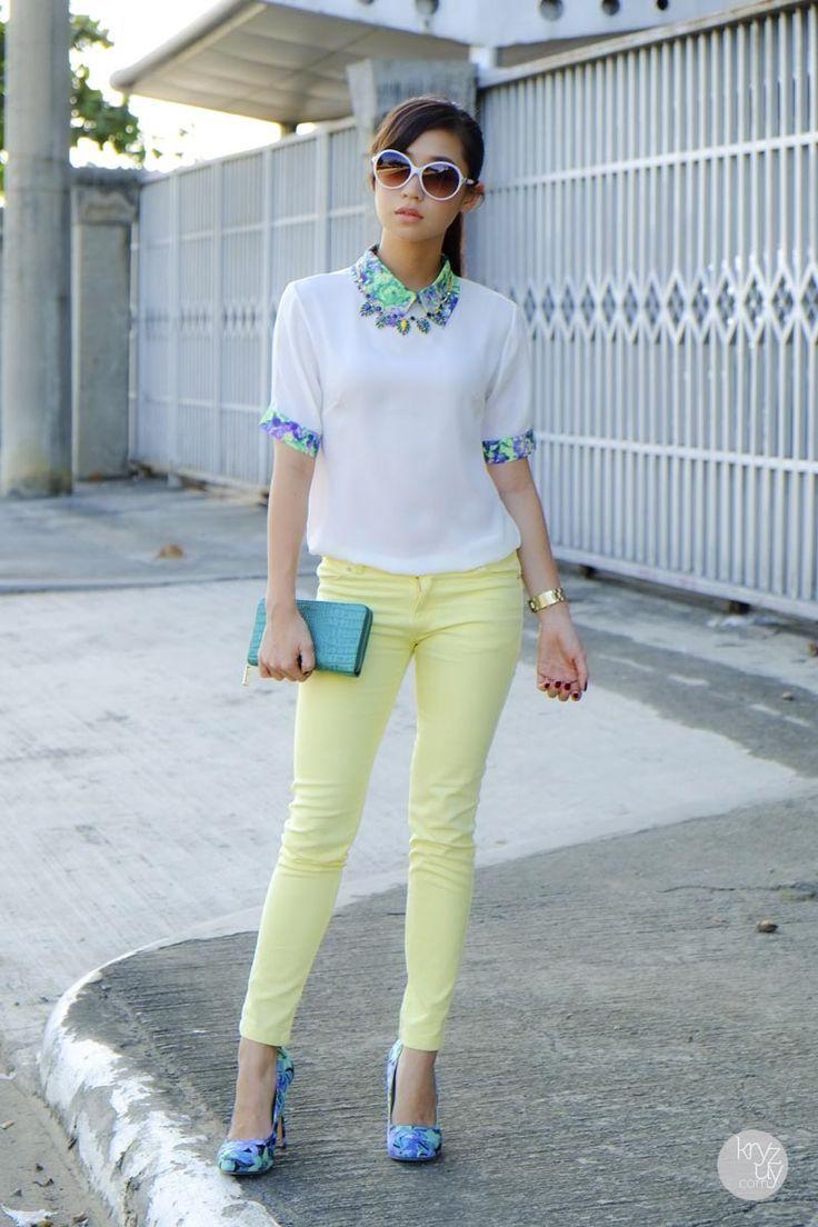 Cómo usar jeans de colores pastel