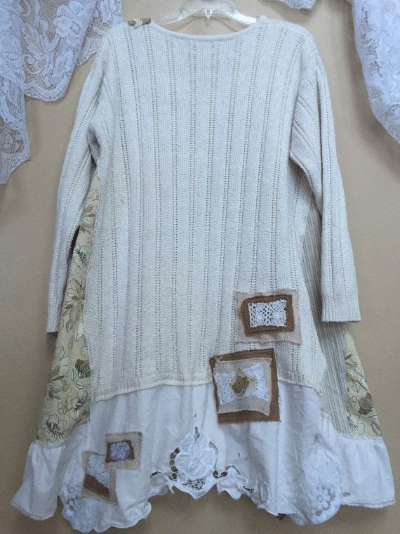 Upcycled plus size Shabby Chic Tunic Vintage by SimplyCathrineAnn