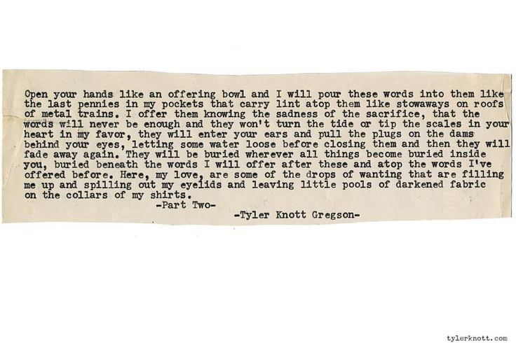 """Tyler Knott Gregson on Instagram: """"Typewriter Series #1302 by Tyler Knott Gregson __ *Book Two Is Here TODAY!! Order All The Words Are Yours, through Amazon, Barnes and Noble, IndieBound , Books-A-Million , or iBookstore! * #tylerknott"""""""