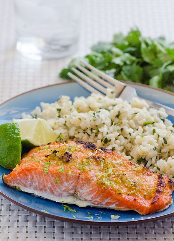 Lime Ginger Salmon Recipe -- 30 minute healthy refreshing seafood dinner. Serve with Cilantro Coconut Brown Rice from the blog.