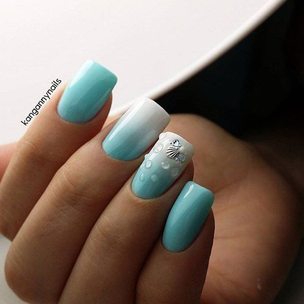 Blue and white nails, Fresh nails, Heavenly nails, Interesting nails, Nails trends 2016, Nails with rhinestones ideas, Ombre nails, Original nails