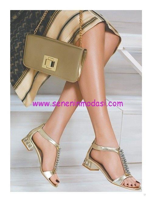 Derimod gold metalik abiye sandalet