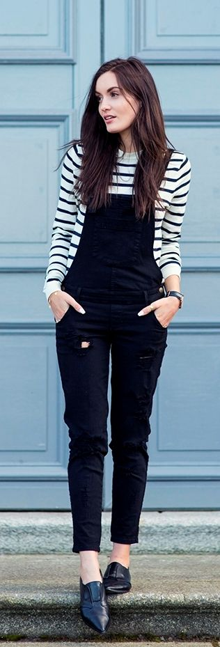 Dress up your overalls with a black and white long sleeve tee and black flats.