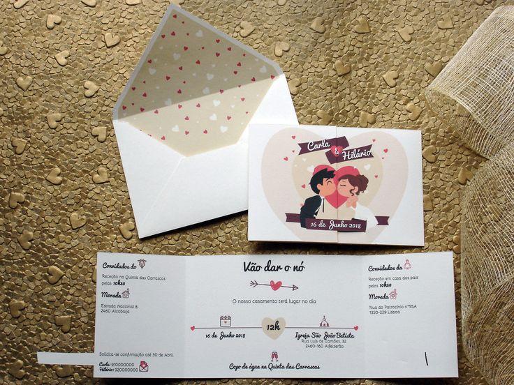 Convite de casamento moderno e original com noivos, bride and groom wedding invitation