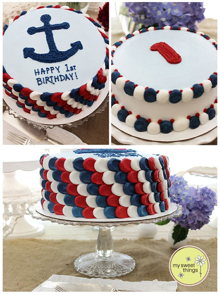 Patriotic petals on this nautical 1st birthday cake & smash cake! ~ My Sweet Things