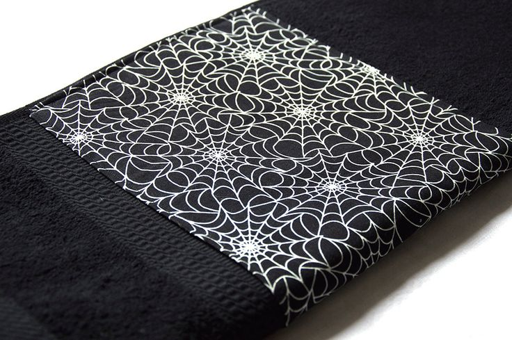 Black Spider Web Cobweb Glow in the Dark Gothic Bath Towel by Pornoromantic