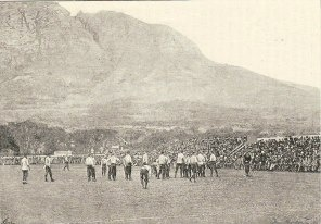 Cape Town rugby ground Newlands and Table Mountain, 1891!