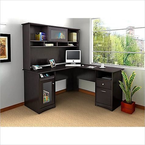 Bush Cabot L-Shape Computer Desk with Hutch in Espresso Oak - WC31830-03K-PKG1 - Lowest price online on all Bush Cabot L-Shape Computer Desk with Hutch in Espresso Oak - WC31830-03K-PKG1