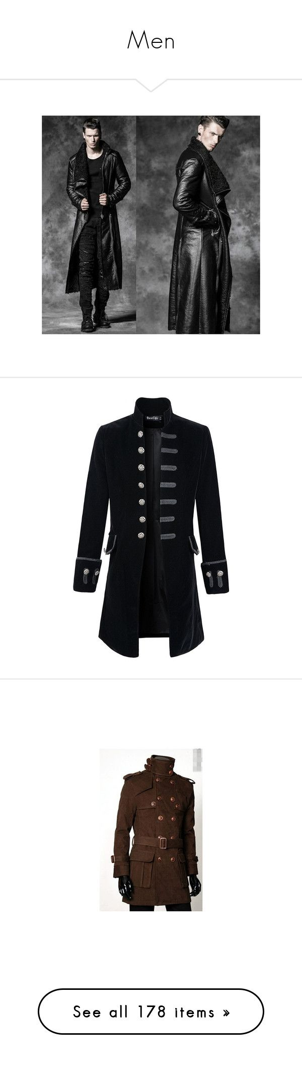 """Men"" by smilxngstars on Polyvore featuring men's fashion, men's clothing, men's outerwear, men's coats, mens gothic trench coat, mens red trench coat, mens trenchcoat, mens gothic coats, outerwear und mens victorian frock coat"