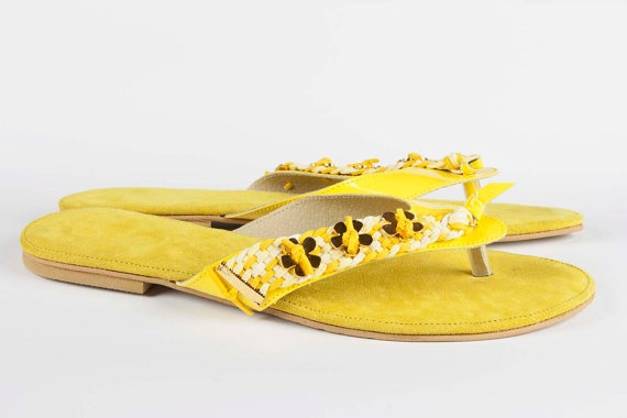 Jeweled leather sandal Lemon Zest by Gesinee on Etsy, €89.00