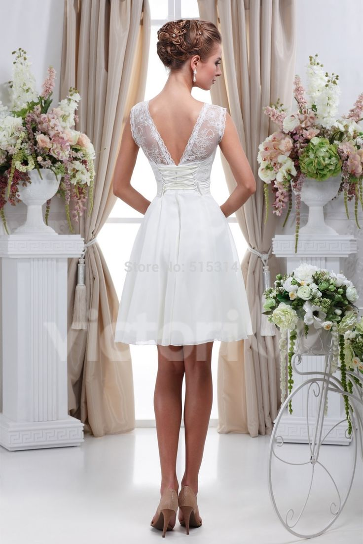 Simple white short wedding dress vestido de noiva curto ...