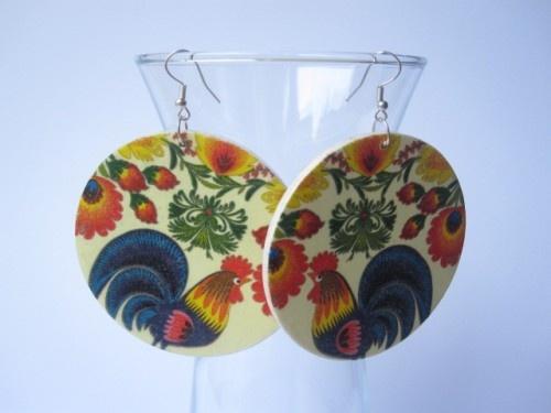 Rooster Hen Chicken Earrings Wooden Folk Decoupage Handmade Artfire