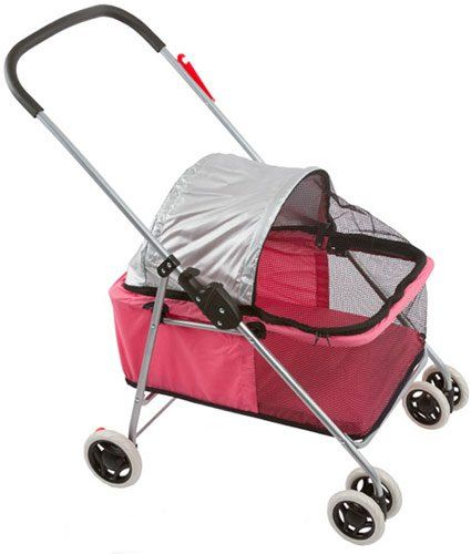 $38.95 Dog strollers for sale cheap dog strollers Superb quality, small folding pet stroller featuring a mesh enclosure, locking rear wheels, a removable washable pad, and comfortable grip bar. The 21 L x 14 W x 17 H Folding Pet stroller weighs only 8 lbs and can hold pets weighing up to 24 lbs. Great for taking your pets outdoors, safely when they're not able to themselves. Color: Pink