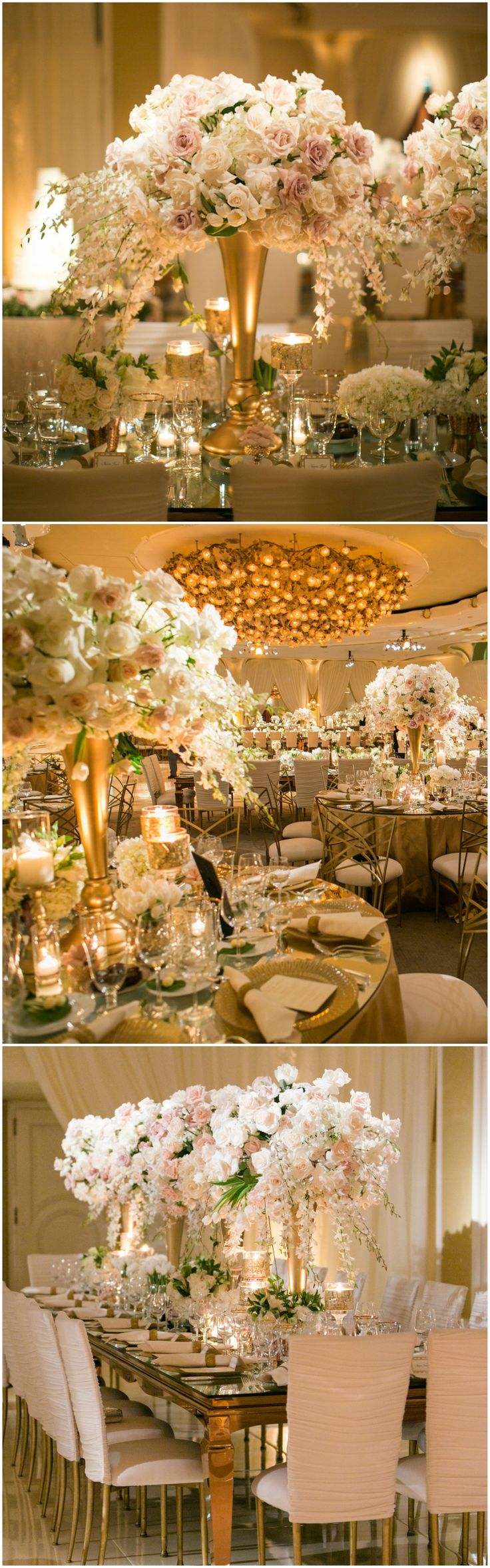 Black tie wedding, formal indoor wedding reception, tall white and pastel pink floral centerpieces, roses, gold vases, elegant table design // Samuel Lippke Studios