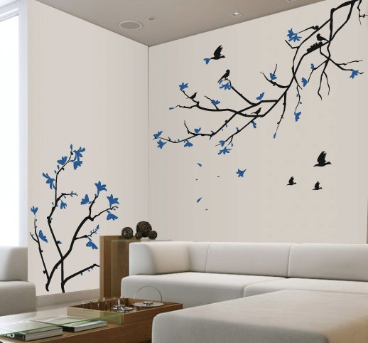 Cherry blossom wall decal blue cherry blossom sakura for Cherry tree wall mural