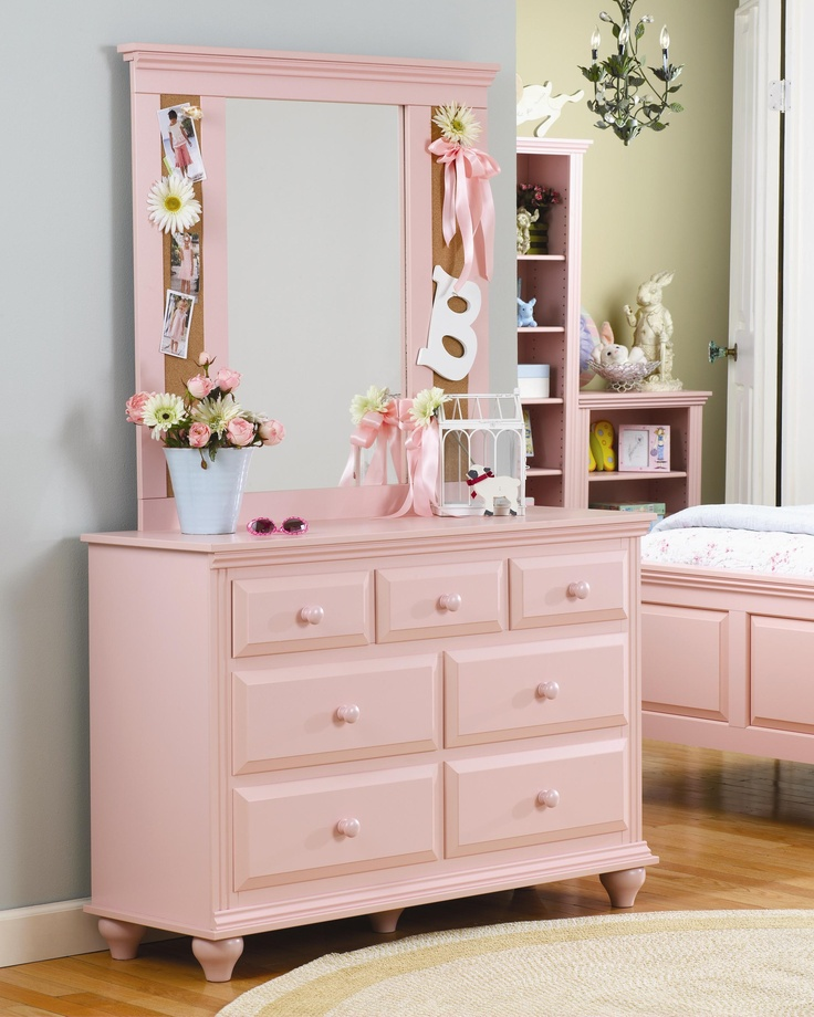 Madison 7 Drawer Dresser With Corkboard Mirror Combination By Lang  Furniture · Harlem FurnitureElegant Girls BedroomPink ...
