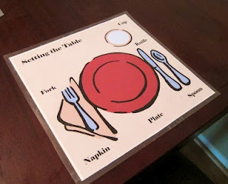 Place mat to help kids learn to set the table from The Artful Child.