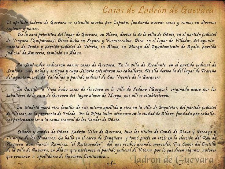 Sobre las Casas Ladron de Guevara. Genealogia - Espana. https://www.facebook.com/photo.php?fbid=10201841895247769