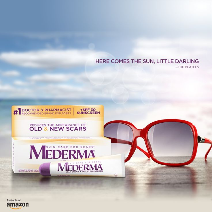 Here comes the sun! Mederma® Scar Cream Plus SPF 30 can help protect your skin from sunburn while making your scar less noticeable.