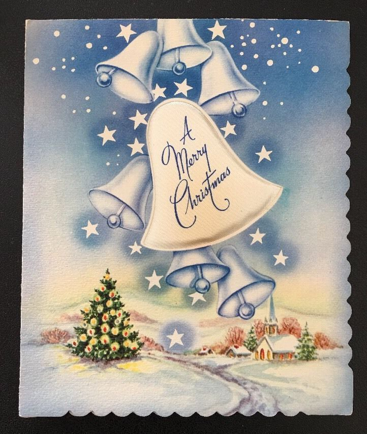 Merry Christmas Vintage Prize Card Puffy Bell Blue Church Tree in Snow Stars