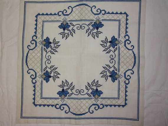 Beautiful blue cross stitch embroidered tablecloth by Ingsvintage