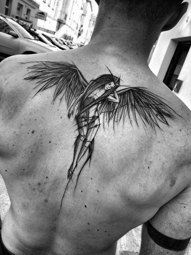 i think i want to get a tat of an angel on my back kinda like this but have it b…