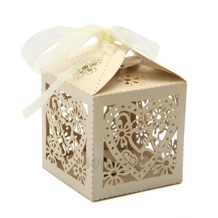 100x Heart Laser Cut Wedding Favour Candy Gift Boxes with Ribbon Party Beige