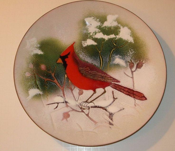 """SIGNED 11"""" NORMAN JUDITH BRUMM MODERN ENAMEL COPPER CHARGER PLATE CARDINAL BIRD"""