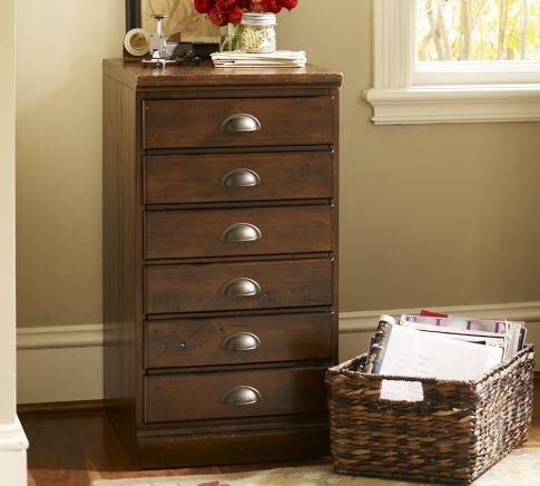 Printer's Single 2-Drawer File Cabinet | Pottery Barn - kind of unfinished look without feet and top is designed to butt up against another cabinet. Very narrow - which is okay