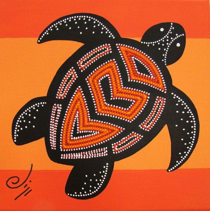 Tortue Orange aborigène (art aborigène avec des petits points au coton tige?)
