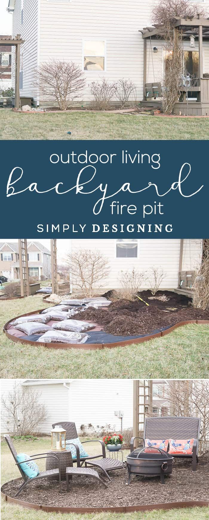 Outdoor Living with an Easy Backyard Fire Pit - easily create more outdoor living space | #ad #BHGLiveBetter #BHGatWalmart