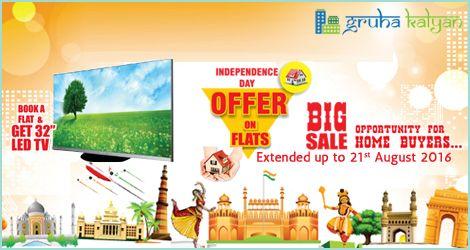 "Gruha Kalyan Independence Day Offer Extended till 21st August 2016 BOOK A FLAT & GET 32"" LED TV."