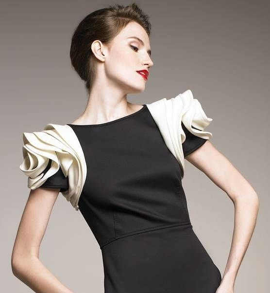 Sculptural Sleeves - black & white dress with layered and sculpted fabrics; 3D fashion design details