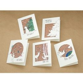 Setje van 5 kerstkaarten met illustraties van Illu-Straver. Thema kerst.