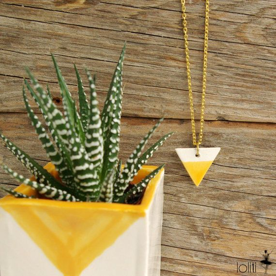 FREE SHIPPING! Geometric ceramic triangle pendant with long chain, long necklace with triangle, two color, mustard yellow and white