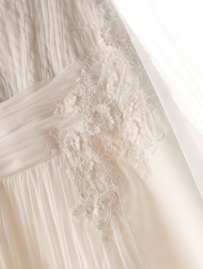 Three dimensional hand engineered detail on custom chiffon vintage lace wedding dress by Maryke  http://maryke.co.za/a-symmetrical-strap-wedding-dress-wedding-dresses-kzn/ #WeddingDressesByMaryke Photo by Viewphotgraphy https://www.facebook.com/VIEW-photographic-Studio-342291459146615/?ref=br_tf