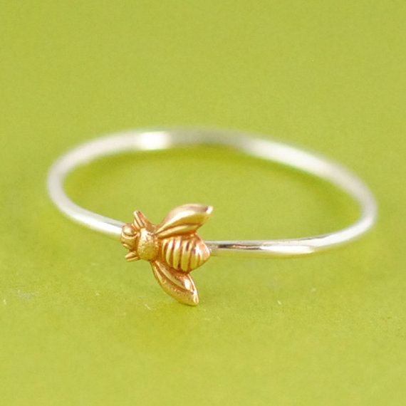 Bumble Bee Stacking Ring in Sterling Silver  by SpiffingJewelry, $20.00