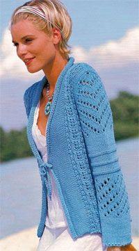 Tyrkysová bunda s prolamované vzorem