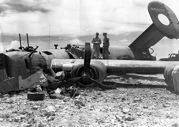 B-24J of the 38th Bomb Squadron The Chambermaid managed to return to Saipan after being heavily damaged over Iwo Jima 11 September 1944. All crewmembers survived and all received the Purple Heart.