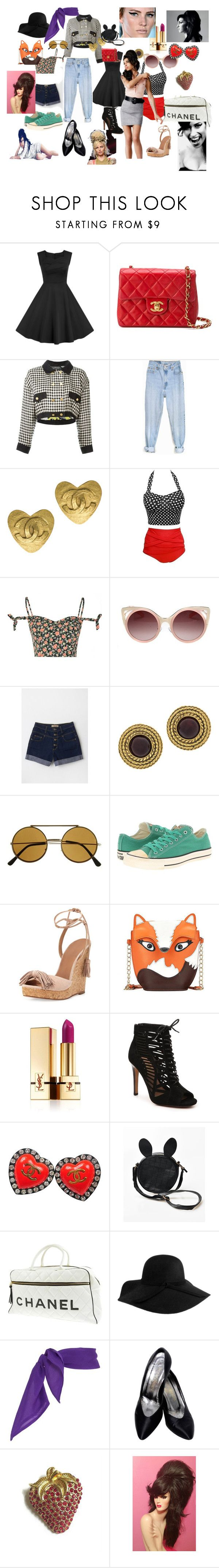 Lovely Vintage by jenny-ragnwaldh on Polyvore featuring Glamorous, Chanel, Levi's, Aquazzura, Yves Saint Laurent, Converse, WithChic, Amy Winehouse, Fred Perry and vintage