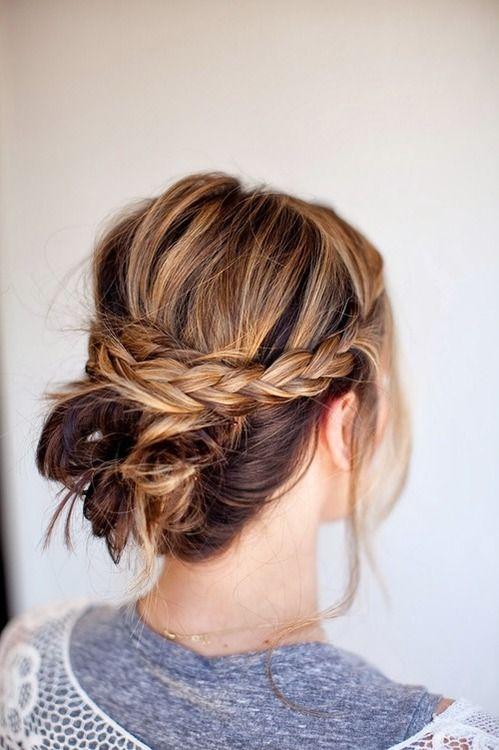 .Messy bun + braid #hair